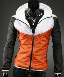 Hooded Zipper Pockets Color Block Splicing Long Sleeve Men's Sports Jacket