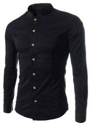 Stand Collar Solid Color Long Sleeve Slim Fit Men's Shirt - BLACK