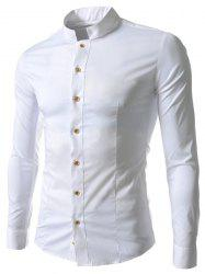 Stand Collar Solid Color Long Sleeve Slim Fit Men's Shirt - WHITE