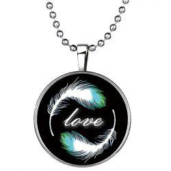 Chic Feather Letter Round Love Noctilucent Pendant Necklace -