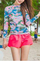 Stylish Floral Printed High Neck T-Shirt and Briefs and Shorts Three-Piece Swimwear For Women