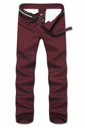 Straight Leg Solid Color Zipper Fly Men's Nine Minutes Of Pants - WINE RED