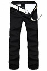 Straight Leg Solid Color Zipper Fly Men's Nine Minutes Of Pants - BLACK