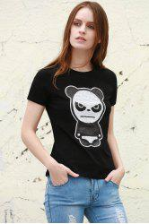 Sequined Panda Pattern T-Shirt