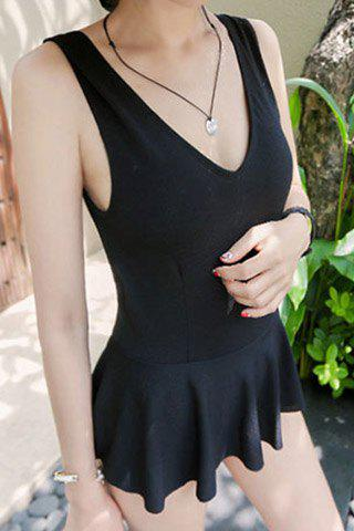 Sale Endearing SV-Neck   olid Color Flounced One-Piece Swimwear For Women