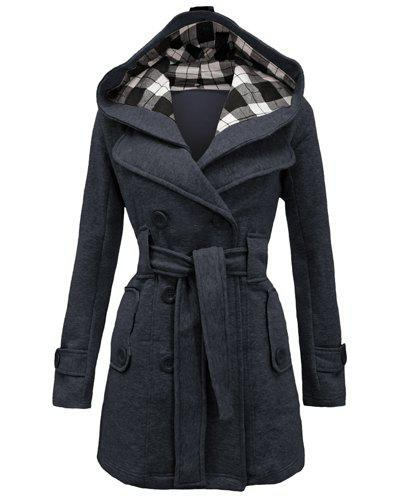 Chic Stylish Hooded Double-Breasted Long Sleeve Worsted Coat For Women