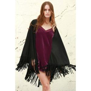 Faux Leather Fring Shawl