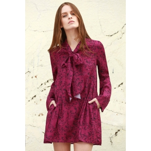 Stylish Long Sleeve Tiny Floral Print Women's Dress