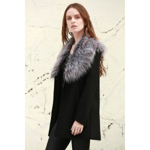 Stylish Boohoo Shawl Faux Fur Collar Women's Coat -