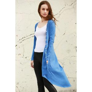 V Neck Long Sleeve Blue Long Knit Cardigan - Blue - L