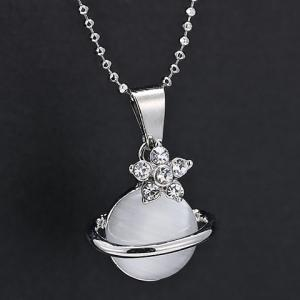 Faux Crystal Rhinestone Planet Pendant Necklace - Silver