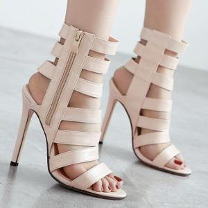 Zip Side High Heel Strappy Sandals - APRICOT 38