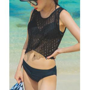 Simple Scoop Neck Cut Out Four-Piece Swimsuit For Women -