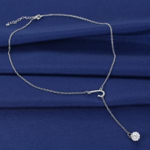 Exquisite J Shape Rhinestoned Ball Pendant Necklace For Women -