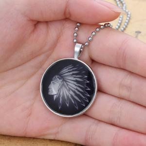 Noctilucent Man Head Printed Round Pendant Necklace -