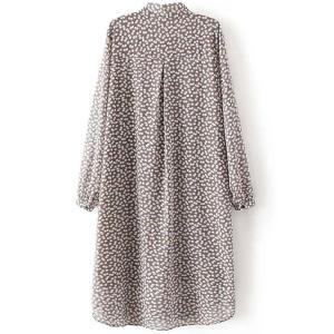 Trendy Long Sleeve Tiny Floral Print Women's Dress -