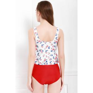 Sexy V-Neck   Printed Flounced Two Piece Swimsuit For Women - RED/WHITE M