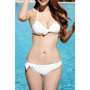 Brief Scoop Neck Bowknot Embellished Three-Piece Swimsuit For Women -