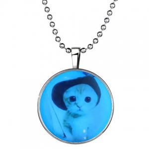 Chic Kitten Round Shape Noctilucent Pendant Necklace For Women - SILVER