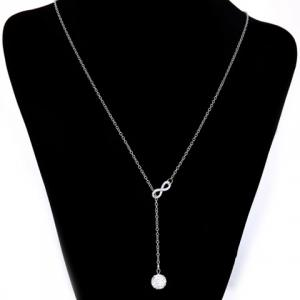 Number Eight Shape Rhinestoned Ball Pendant Necklace -