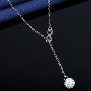 Number Eight Shape Rhinestoned Ball Pendant Necklace - SILVER