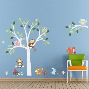 Quality Cartoon Animals Pattern Wall Mural Stickers For Kid's Rooms