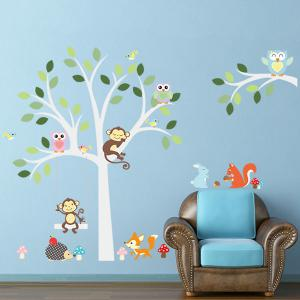 Quality Cartoon Animals Pattern Wall Mural Stickers For Kid's Rooms -