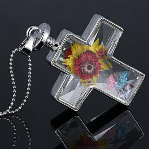 Exquisite Cross Shape Glass Cover Dry Flower Pendant Necklace For Women -
