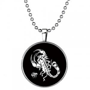 Chic Scorpion Round Shape Noctilucent Pendant Necklace For Women - Silver