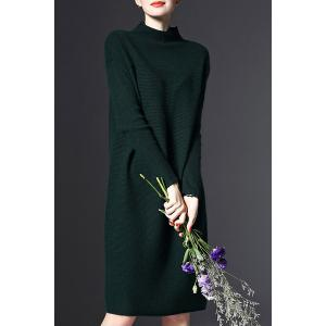 Stand-Up Collar Long Sleeve Loose Jumper Dress - GREEN ONE SIZE(FIT SIZE XS TO M)
