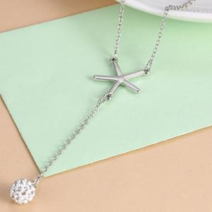 Chic V Shape Rhinestoned Ball Pendant Necklace For Women - SILVER