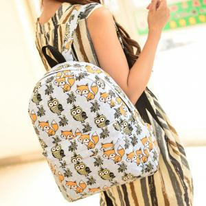 Cute Canvas and Print Design Backpack For Women -