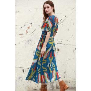 Stylish Plunging Neck Half Sleeve Abstract Print Women's Dress - BLUE L