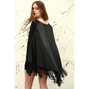 Stylish Fring Faux Leather Women's Shawl - BLACK S