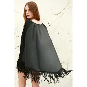 Faux Leather Fring Shawl -