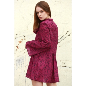 Stylish Long Sleeve Tiny Floral Print Women's Dress - PURPLE M