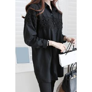 Shirt Collar Loose-Fitting Long Sleeve Lace Shirt - BLACK XL