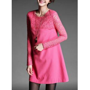 Chic Round Neck Long Sleeve Lace Spliced Pure Color Women's Dress -