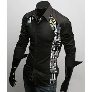 Turn-Down Collar Color Block Print Splicing Long Sleeve Men's Shirt -