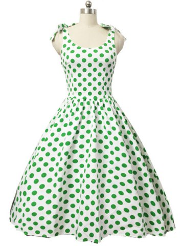 Sale Graceful Bowknot Strappy Sleeveless Ball Gown Polka Dot Dress For Women