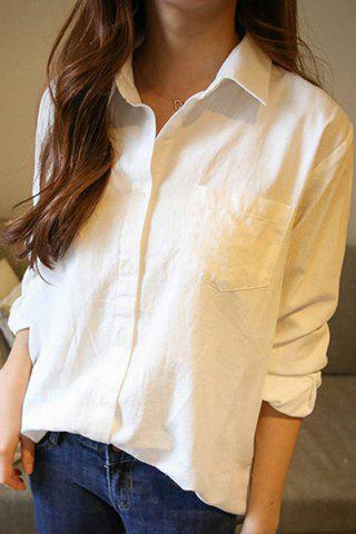 Chic Texedo Long Sleeve Pocket Design Shirt WHITE S