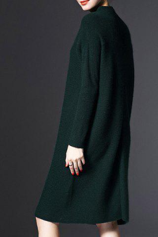 Hot Stand-Up Collar Long Sleeve Loose Jumper Dress - ONE SIZE(FIT SIZE XS TO M) GREEN Mobile