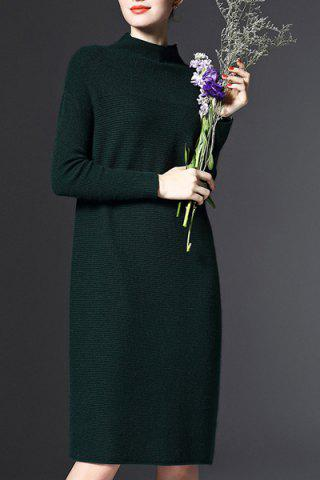 Discount Stand-Up Collar Long Sleeve Loose Jumper Dress - ONE SIZE(FIT SIZE XS TO M) GREEN Mobile