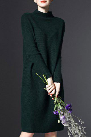 Buy Stand-Up Collar Long Sleeve Loose Jumper Dress - ONE SIZE(FIT SIZE XS TO M) GREEN Mobile