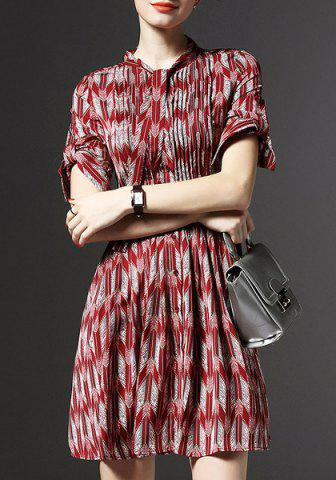 New Trendy Bow-Tie Collar 3/4 Sleeve Printed Dress For Women