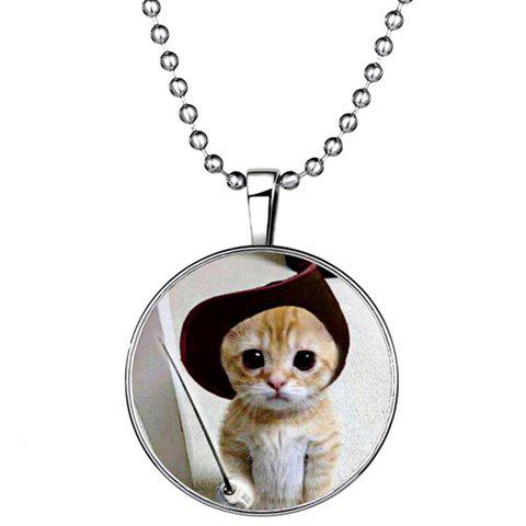 Chic Chic Kitten Round Shape Noctilucent Pendant Necklace For Women SILVER