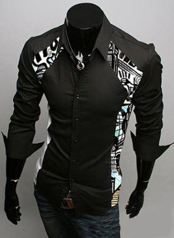 Trendy Turn-Down Collar Color Block Print Splicing Long Sleeve Men's Shirt