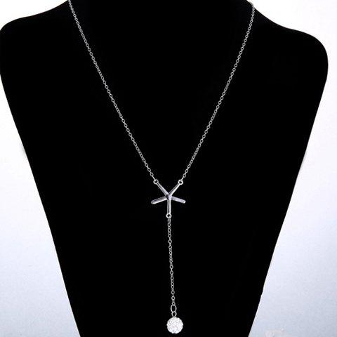 Cheap Chic V Shape Rhinestoned Ball Pendant Necklace For Women - SILVER  Mobile