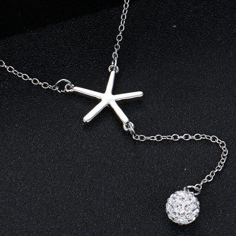 Sale Chic V Shape Rhinestoned Ball Pendant Necklace For Women - SILVER  Mobile