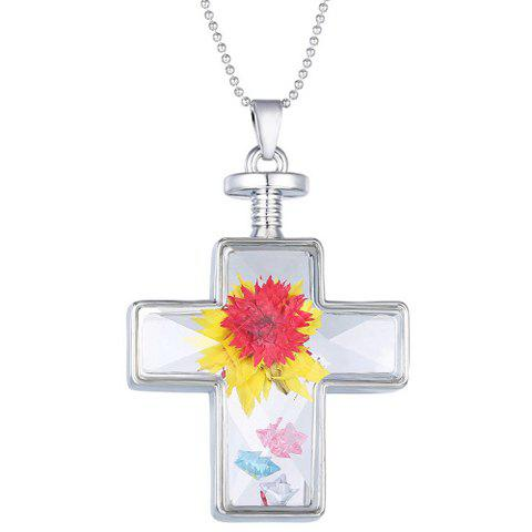 Exquisite Cross Shape Glass Cover Dry Flower Pendant Necklace For Women - SILVER